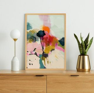 Abstract Landscape Floral Print Framed Wall Art Print A3, Multi