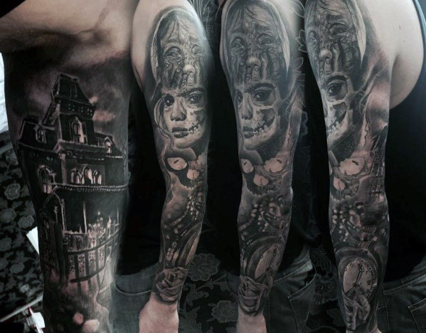 Haunted House Sleeve Tattoos For Men