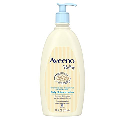Aveeno Baby Daily Moisture Lotion with natural colloidal oatmeal and dimethicone, fragrance-free, 18 fl. Oz