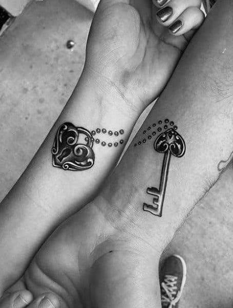 Couple Matching Tattoos Key With Heart Lock
