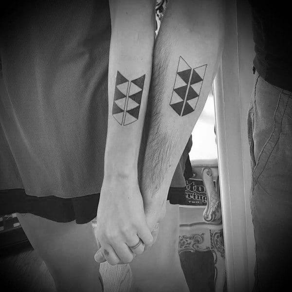 Awesome Couples Tattoos Geometric Design Ideas On Forearms