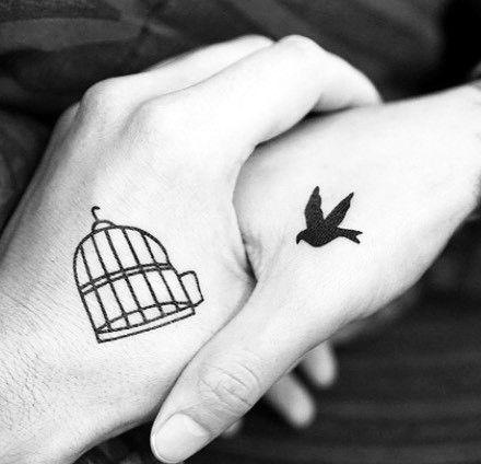 Couples With Matching Tattoos Small Bird And Cage On Hand