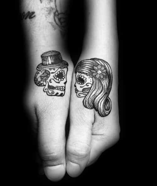 Day Of The Dead Skulls Couples Tattoos