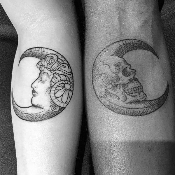 Two Moons Matching Couple Tattoos