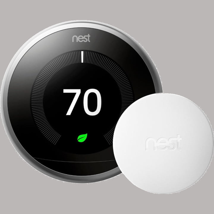 Nest learning thermostat with temperature sensor