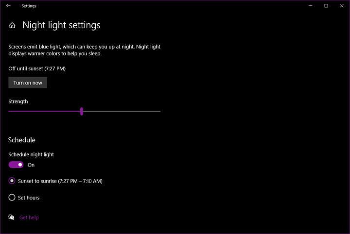 Windows 10 night light intensity