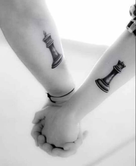 King And Queen Chess Piece Tattoos On Arms