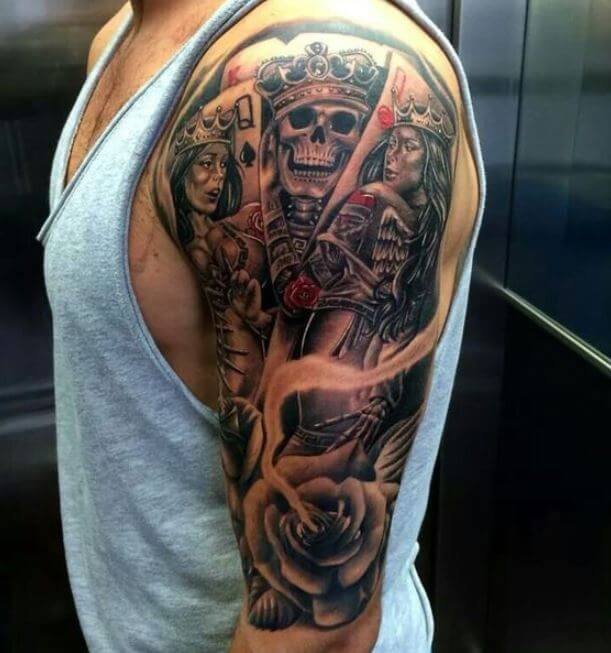 Half Sleeve King And Queen Tattoos