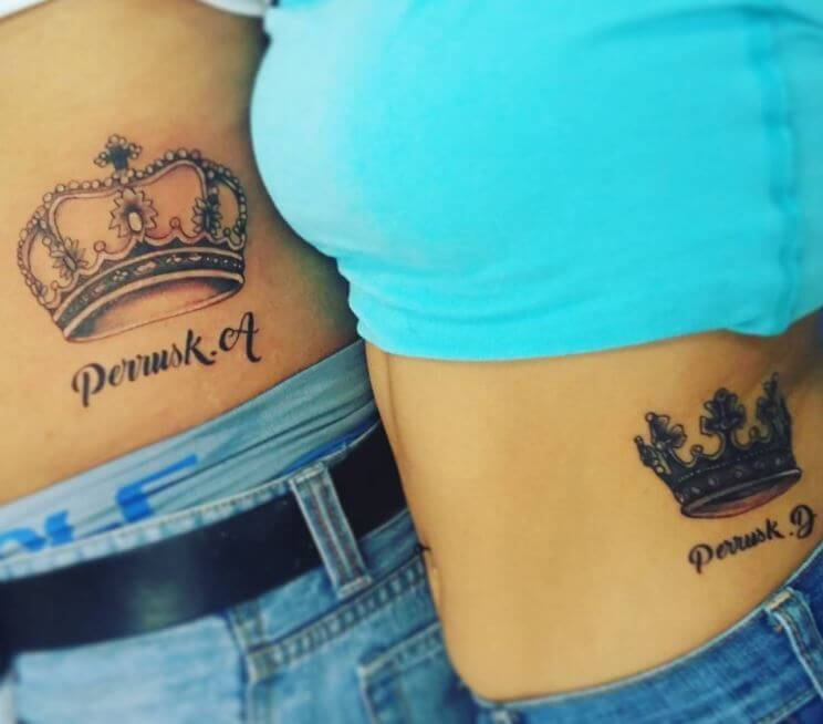 King And Queen Crown Tattoos For Couples