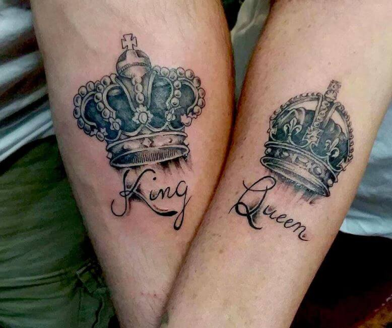 King And Queen Crown Tattoos (1)