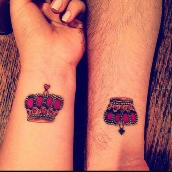 King And Queen Matching Tattoos