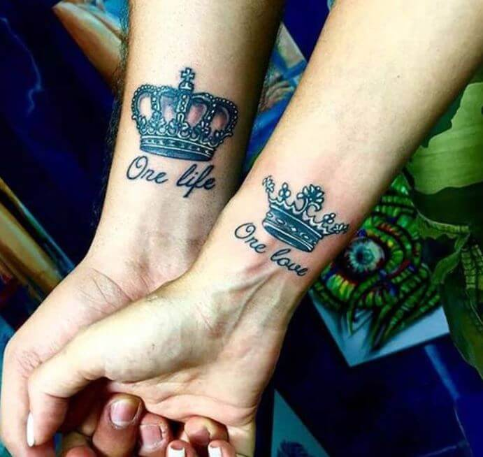 King And Queen Wrist Tattoos Design