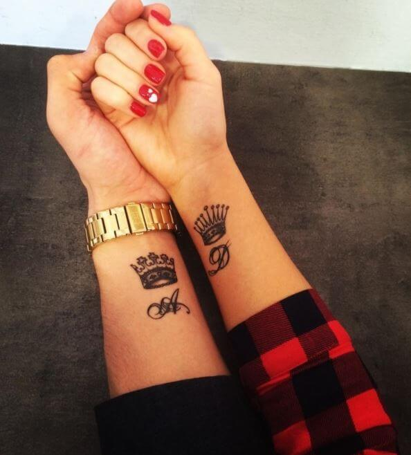 Matching King And Queen Crown Tattoos
