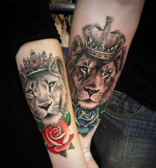 Lion King And Queen Tattoos