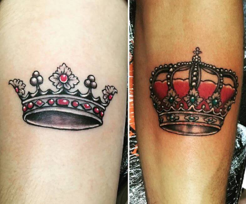 Matching Tattoos For Couples King And Queen