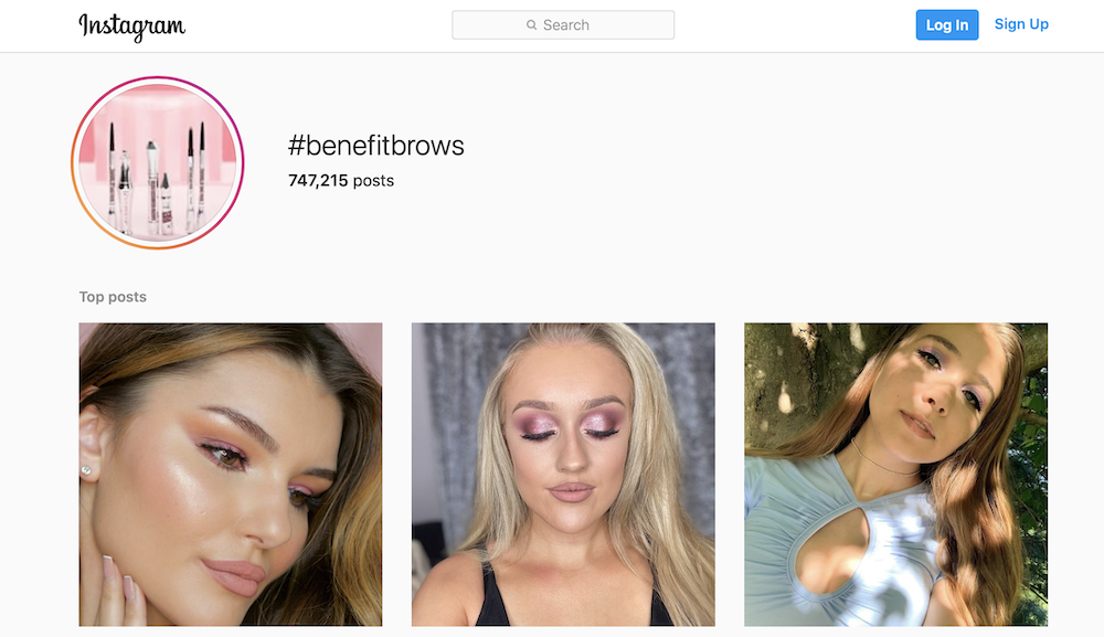 instagram benefitbrows hashtag page