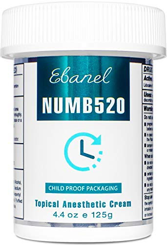 Ebanel 5% Lidocaine Topical Anesthetic Cream, Maximum Strength, 4.4 oz Pain Relief Anesthetic Cream, infused with Aloe Vera, Vitamin E, Lecithin, Allantoin, Secure with Child Safety Cap