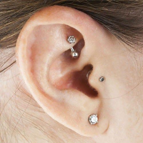 Close up rook piercing
