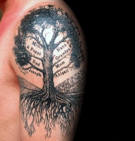 Family tree tattoo with name