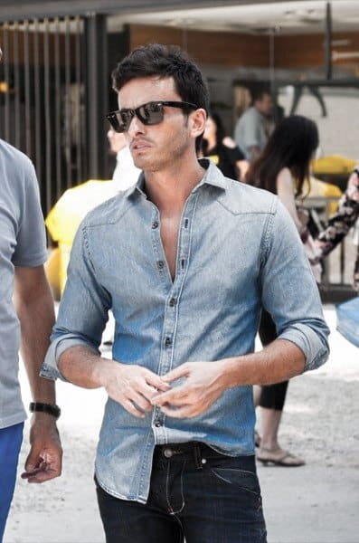 Awesome Sharp Looking Casual Wear Outfit Light Blue Shirt with Jeans