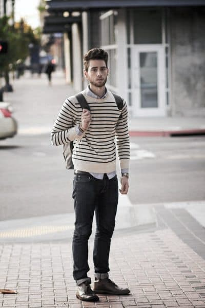 Striped Sweater with Male Casual Wear Clothing Style Jeans