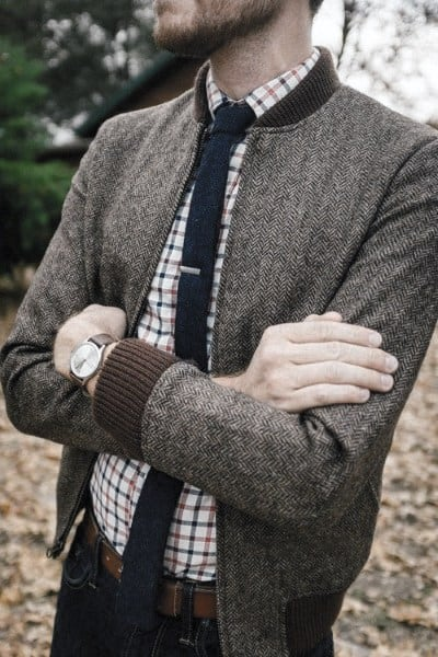Checkered shirt with outfits skinny tie and charcoal jacket for men with casual wear look