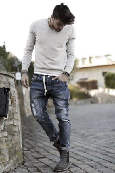 Jeans worn with style casual wear cream long sleeve shirt