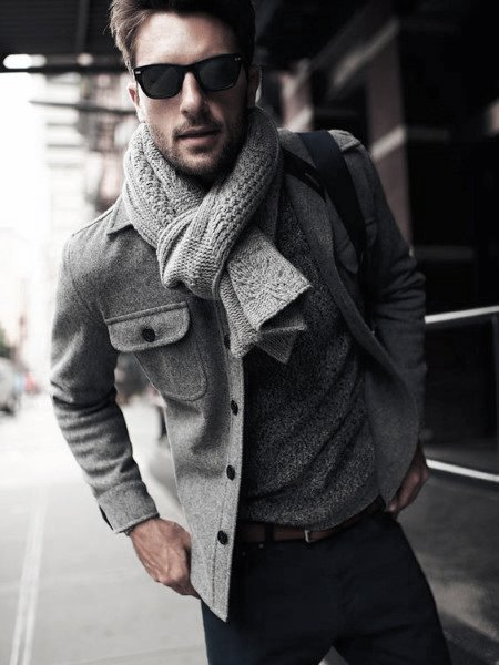 Males gray color jacket and scarf gives style casual wear look