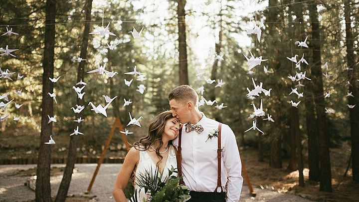 Cortney and Kevan's DIY California Forest Wedding with 1000 Paper Cranes by Matthew Lim Photography