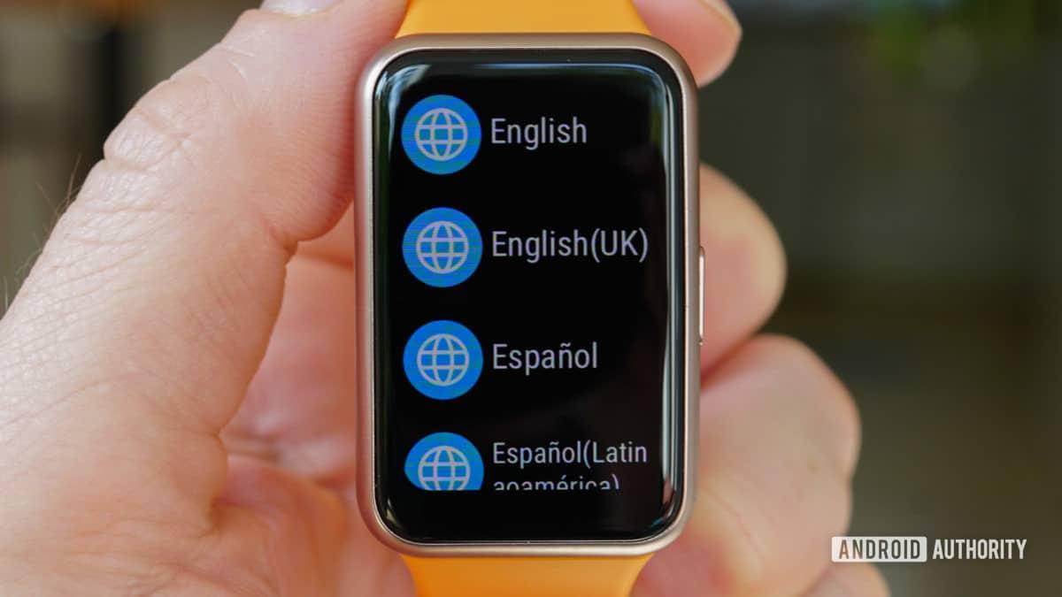 Huawei Watch Fit Language Setup Screen