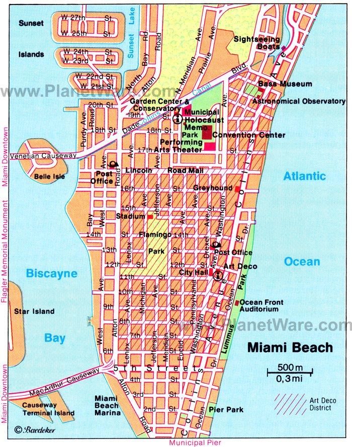 Miami Beach Map - Tourist Attractions