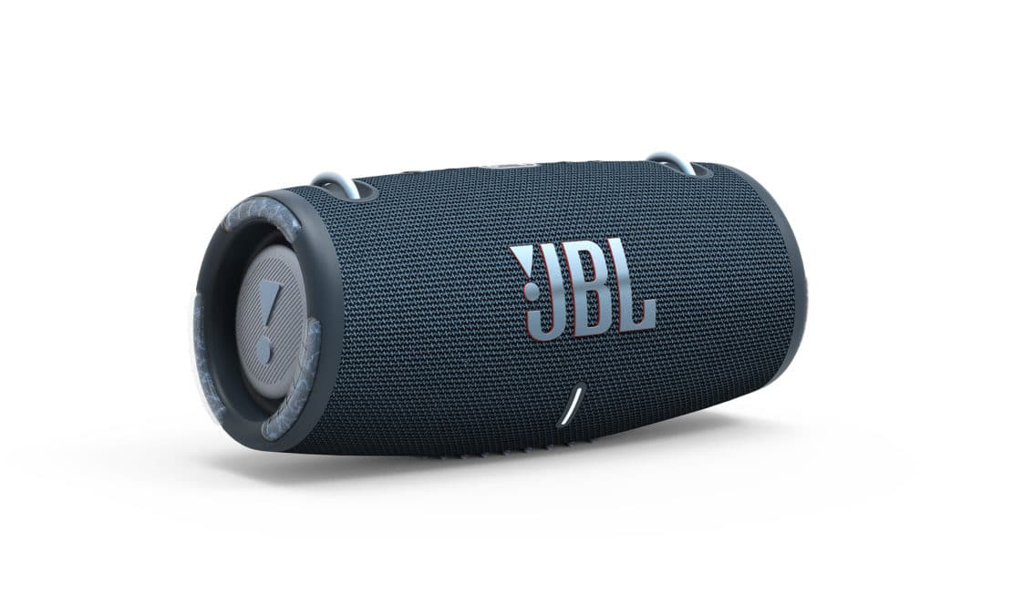 Presenting a product of the jbl xtreme 3 water and dust resistant speaker in the navy against a white background.