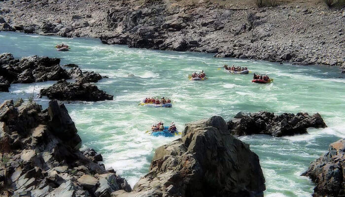 River rafting in clear water