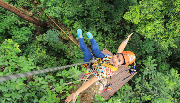 Girl during zipling