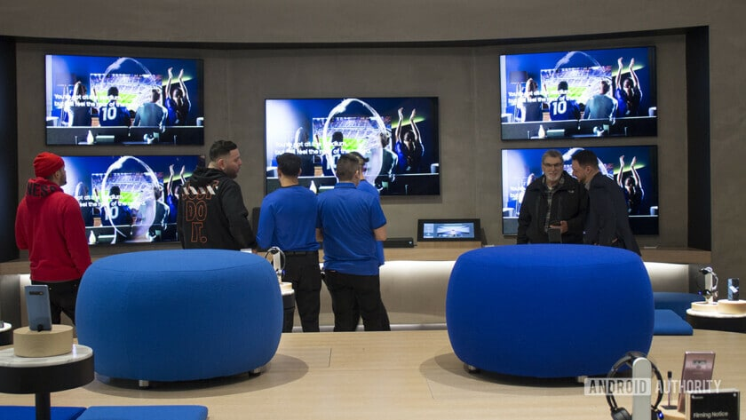 A wall of Samsung TVs on display at the Samsung Experience Store in Long Island.