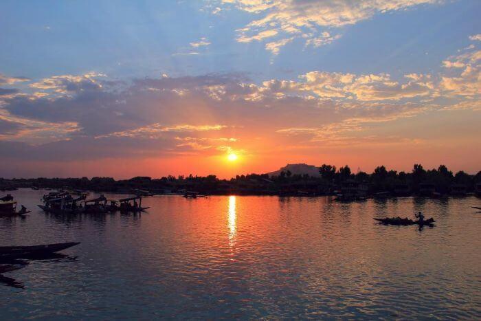 Amazing sunrise on the upper lake in Bhopal