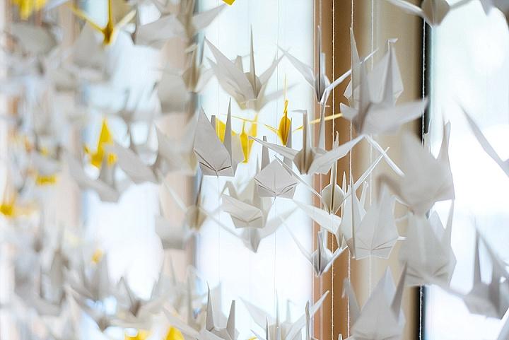 Satoko and Ian's Simple Backyard Wedding with 1000 Paper Cranes by Natalia Juk Photography
