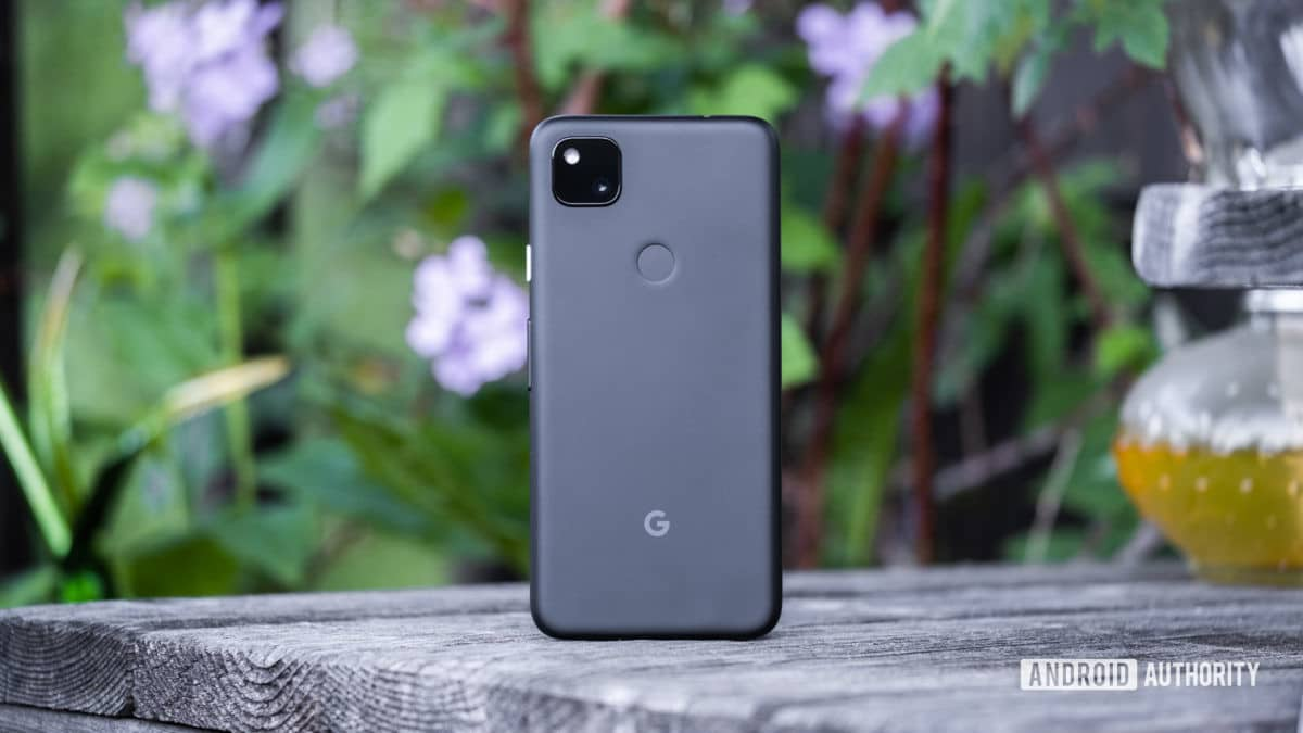 Google Pixel 4a stands on back table 1
