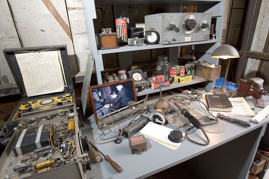 PALO ALTO, CA - DECEMBER 8: Artifacts in the newly renovated HP garage on Addison Avenue are seen December 8, 2005 in Palo Alto, California. In 1939 Bill Hewlett and Dave Packard started their business, Hewlett Packard, and used this garage as a research lab, development workshop and manufacturing facility for early products such as the audio oscillator. The garage is a historic landmark as is considered the birthplace of Silicon Valley.