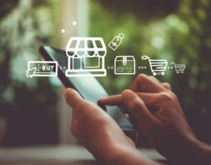 Women hand using smartphone do online purchasing