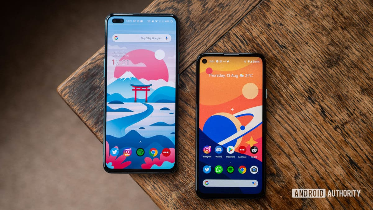 OnePlus Nord vs Pixel 4a Both devices side by side in a staggered view