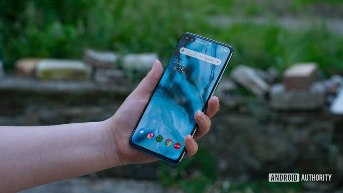 OnePlus North Hold the phone and look at the home screen