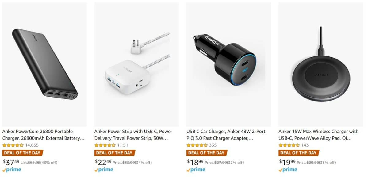 Anker charging accessories Amazon deal of the day