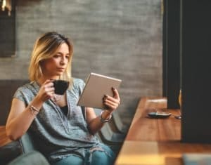 Businesswoman reading a book