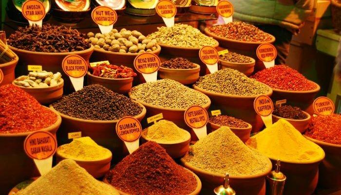 Large variety of spices and dry fruits in Egyptian Bazaar
