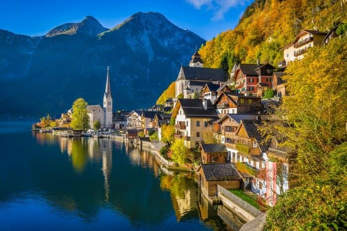The iconic mountains and a small village of Lake Hallstatt