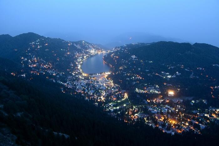 A view of the nightscape in Nainital which is one of the best places to visit in India in September.