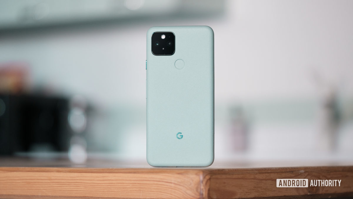 Google Pixel 5 standing up back on table 1