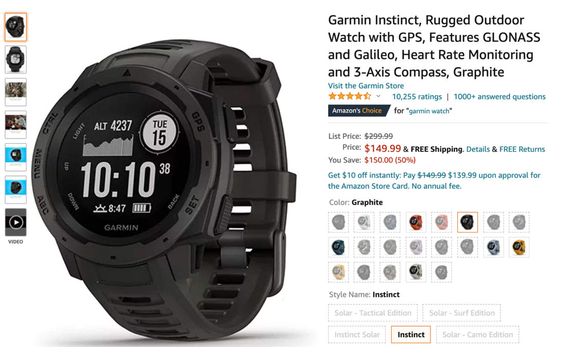 garmin instinct outdoor fitness watch black friday sale