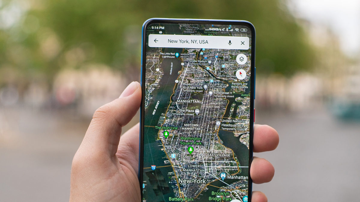 google maps on android showing New York City